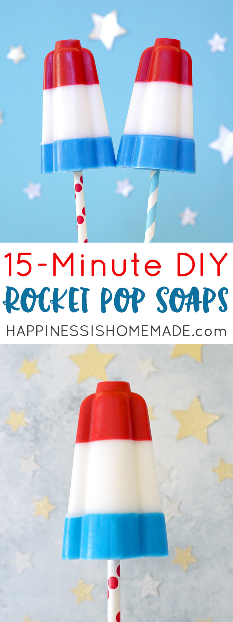 These fun red, white, and blue Rocket Pop Soaps, look just like the classic summer treat! Whip up a batch in just 15 minutes to wow your 4th of July guests! Makes a great gift, treat, or homemade party favor! via @hihomemadeblog