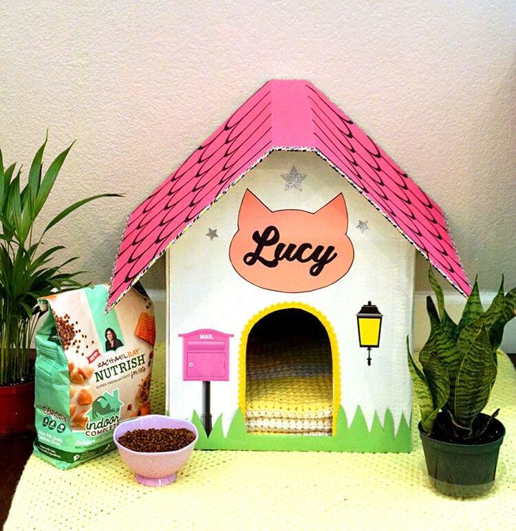 diy cardboard cat house happiness is homemade. Black Bedroom Furniture Sets. Home Design Ideas