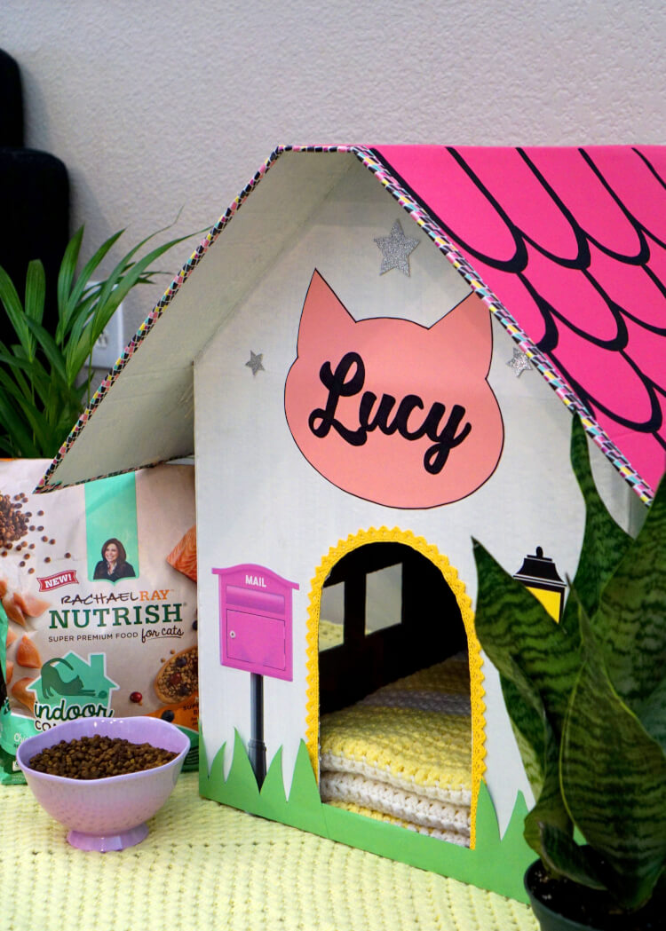DIY Cardboard Cat House - Happiness is Homemade