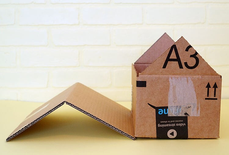 Diy cardboard cat house happiness is homemade for How to make a house step by step