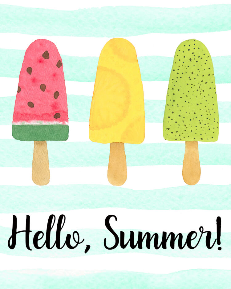 "Hello, Summer! Welcome the new season with two sweet (and free!) ""Hello, Summer"" printable popsicle art prints! Two different options to choose from!"