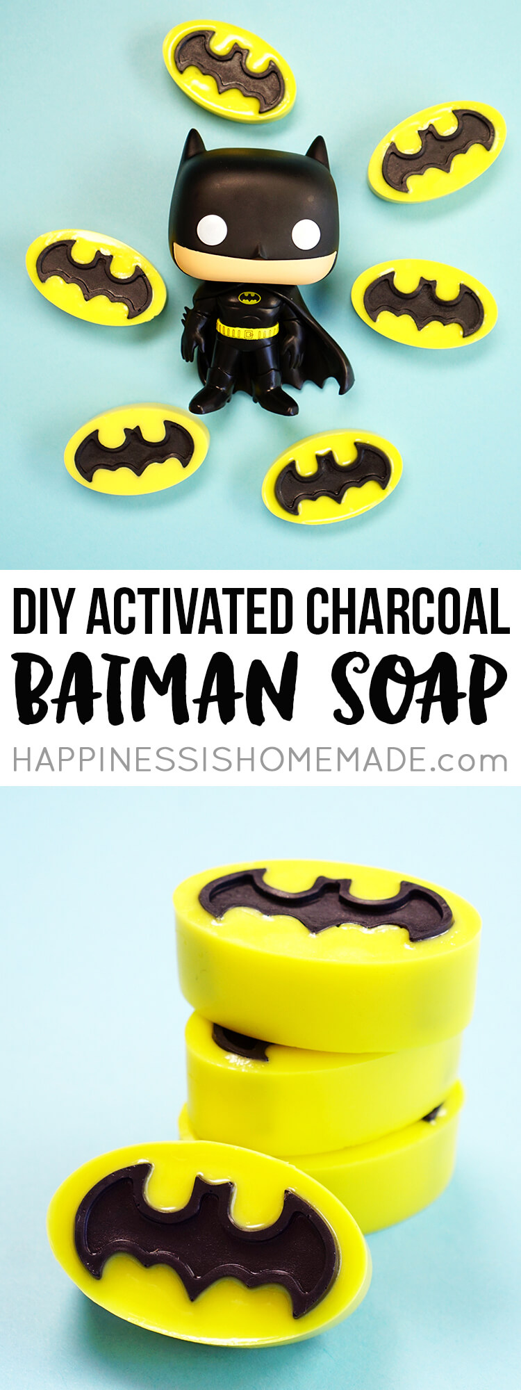 Make your own Batman activated charcoal soap that's perfect for fighting acne and problem skin (and crime!)! Activated charcoal is great for your skin!