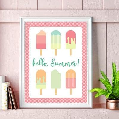 Hello, Summer! Printable Popsicle Art