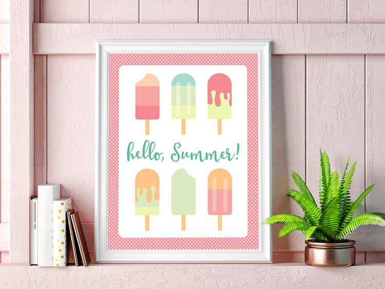 Hello Summer Printable Popsicle Art
