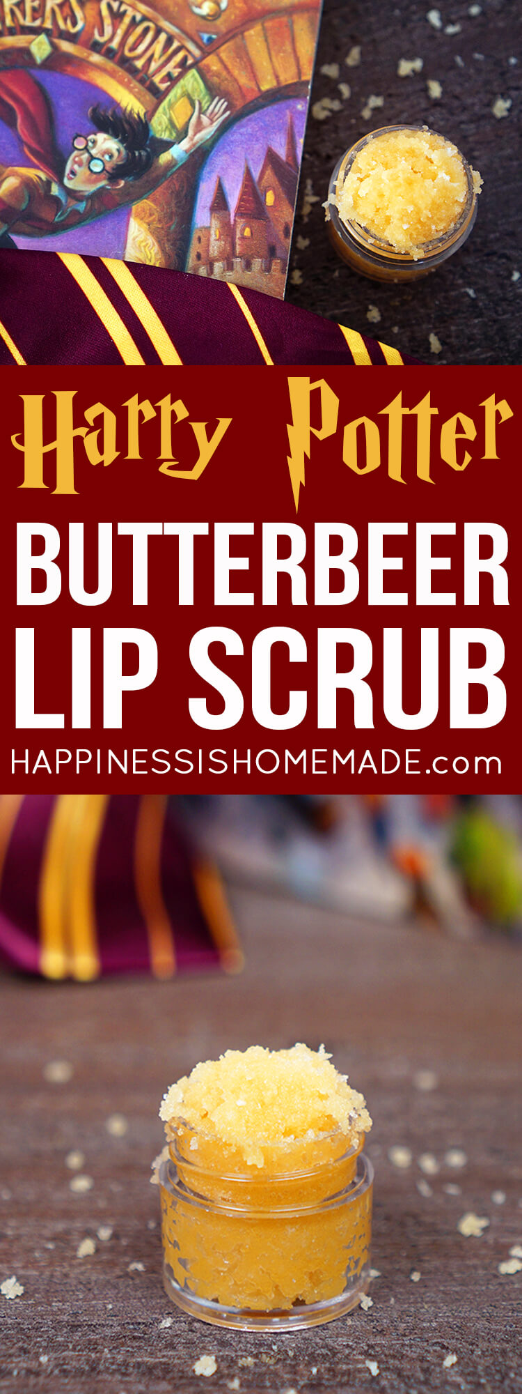 This delicious Butterbeer Sugar Scrub recipe is incredible (and SO easy to make!)! Make a small batch of Butterbeer Lip Scrub or a bigger batch to smooth your entire body and leave your skin soft and silky! A great homemade gift idea for Harry Potter fans!