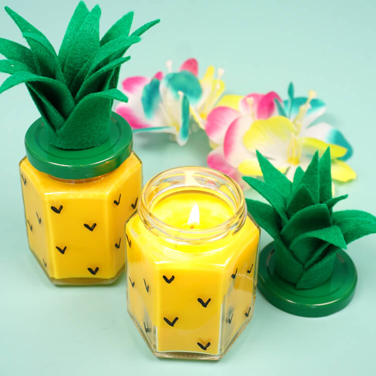 Easy DIY Pineapple Candles - Happiness is Homemade