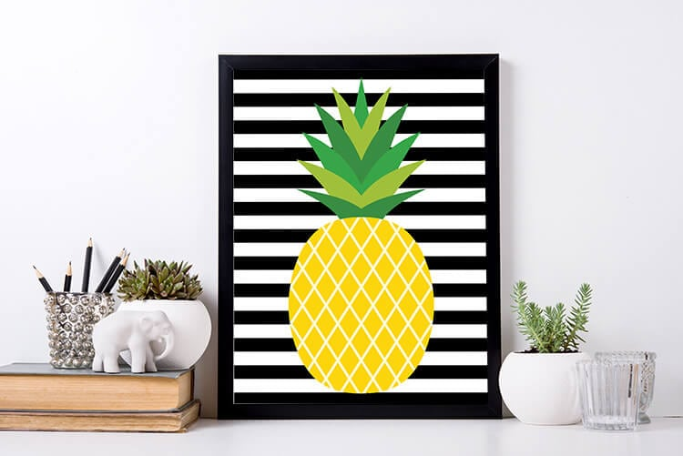 Pineapple Printable on Black and White Stripes