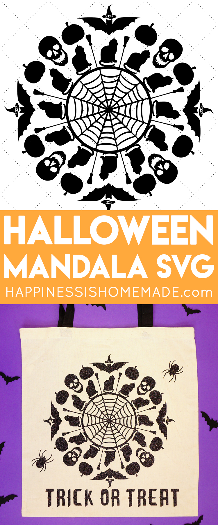 Halloween SVG File - Use this Spooky Mandala Halloween SVG file to Make an Awesome Halloween T-shirt or Trick or Treat Bag!