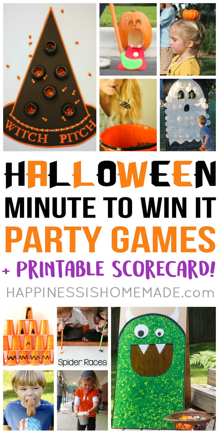 Host the best Halloween party ever with these fun Halloween Minute to Win It games - perfect for all ages, so everyone from toddlers to adults can play!