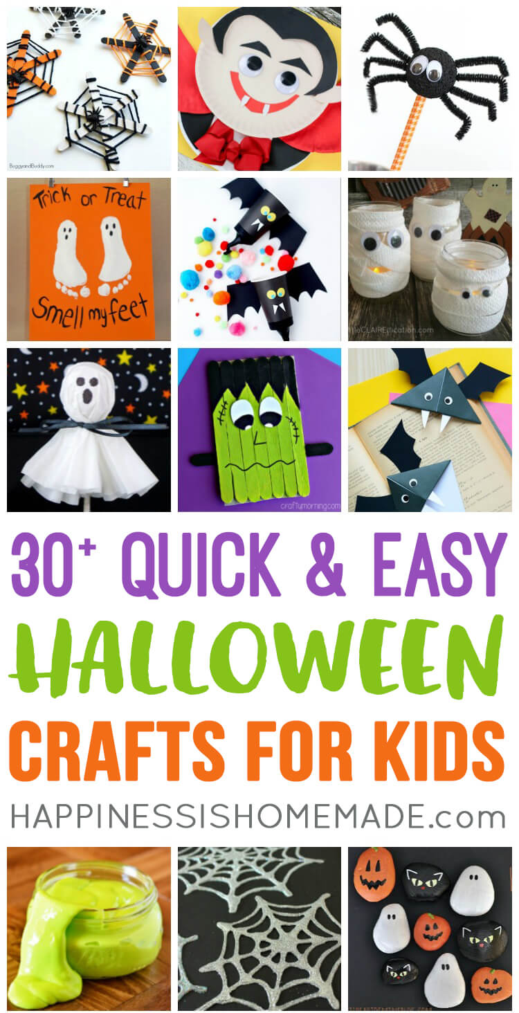 graphic about Halloween Crafts for Kids+free Printable named Simple Simple Halloween Crafts for Little ones - Contentment is Handmade