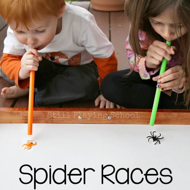 divide party guests into groups of 2 3 for these fun spider races set the timer for one minute the person to get their spider across the finish line - Halloween Games For Groups