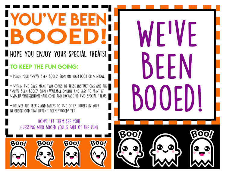 "These ""You've Been Booed"" Halloween printables are SO much fun! Does your neighborhood boo each other at Halloween time? Not sure what that even means? Read on, and I'm sure you'll be excited to ""Boo,"" too! It's such a fun new tradition!"