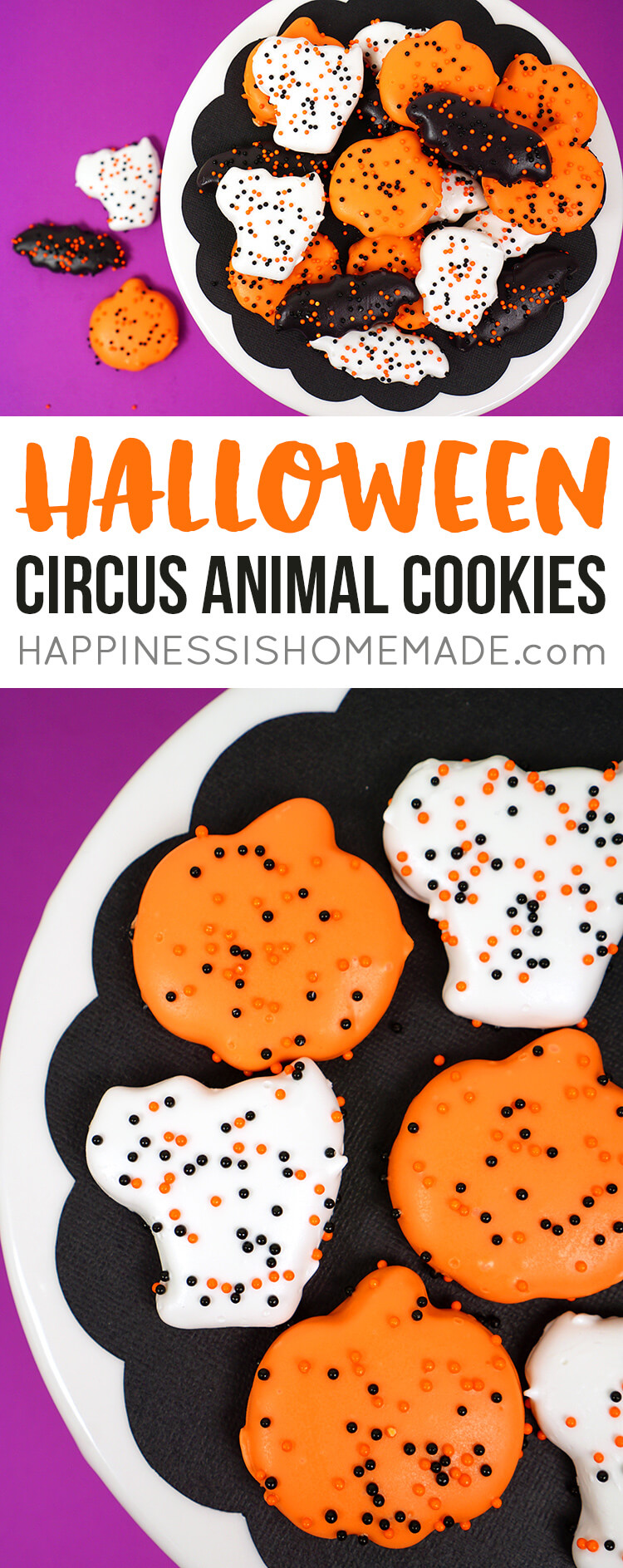 "These yummy Halloween ""Circus Animal"" Cookies are a delicious Halloween party treat or classroom treat idea! I love these easy-to-make and super cute Halloween cookies -  a perfect homemade addition to your ""You've Been Booed"" basket!"