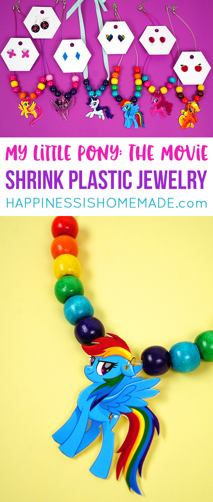 DIY My Little Pony: The Movie shrink plastic jewelry is a fun and easy craft for kids of all ages! Make your own adorable My Little Pony jewelry in minutes!