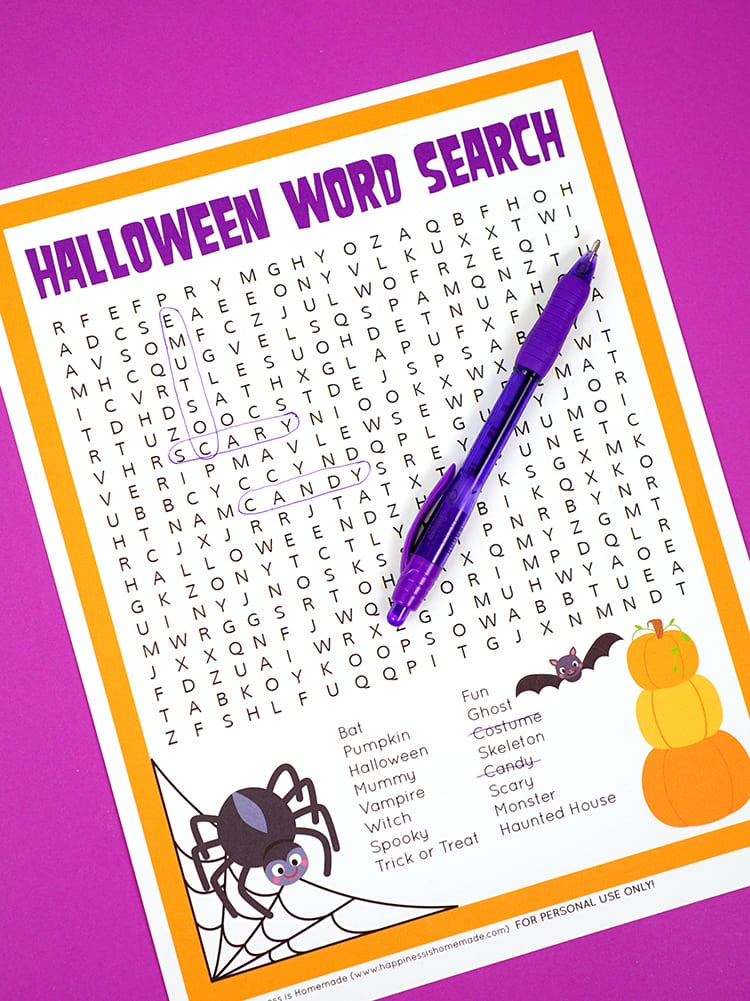 picture regarding Halloween Wordsearch Printable identified as Halloween Phrase Look Printable - Contentment is Selfmade