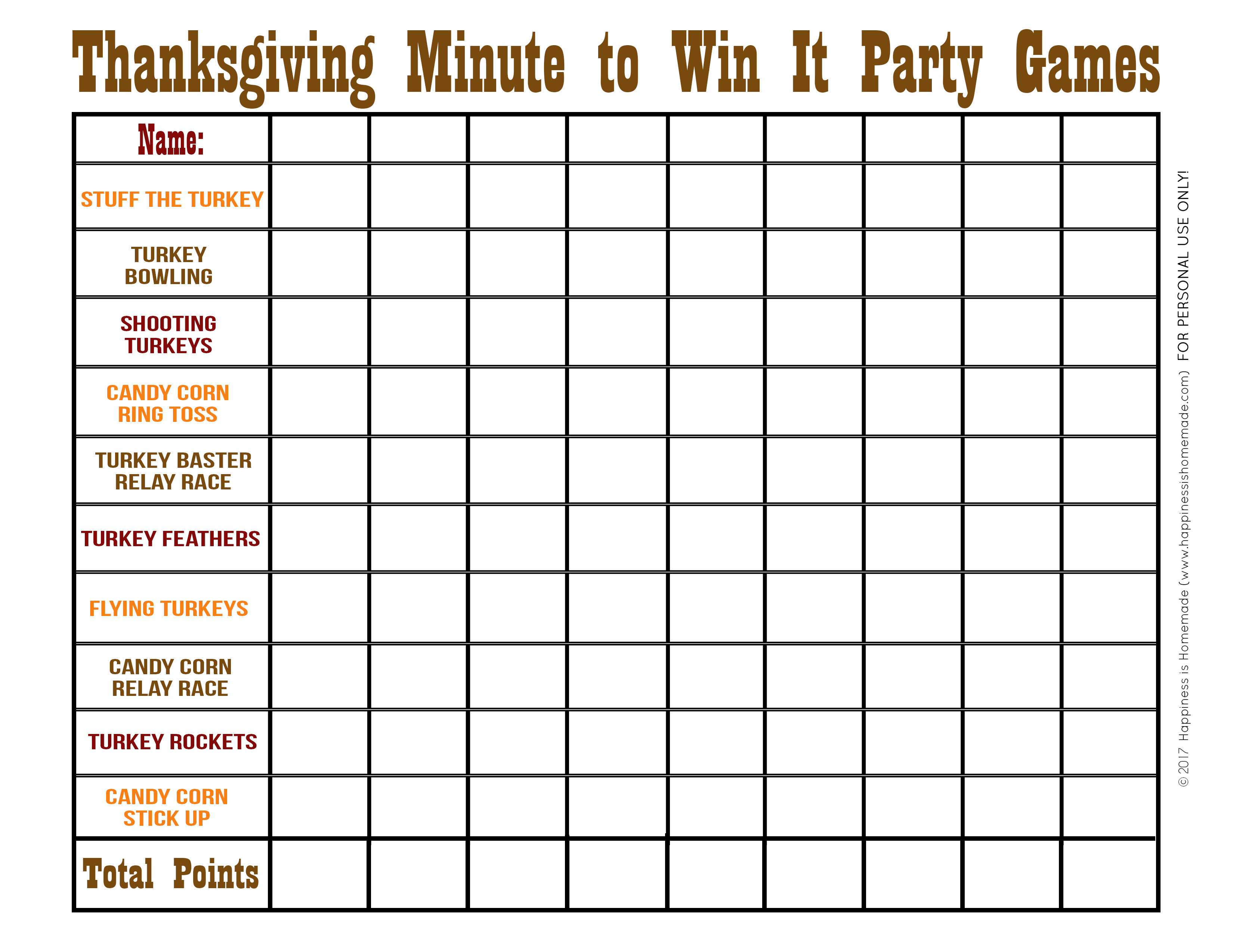 graphic relating to Printable Party Games named Thanksgiving Moment in direction of Earn It Video games - Contentment is Home made