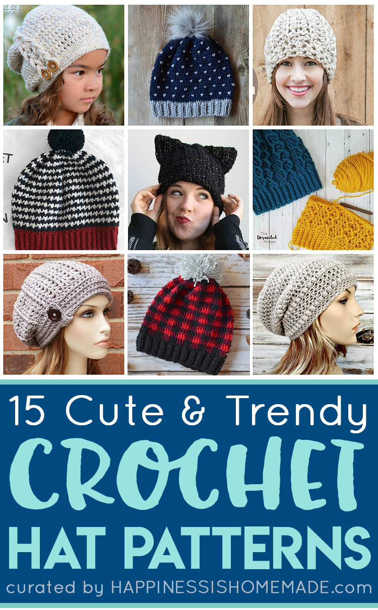 7d00e087a6e Crochet Hat Patterns - Happiness is Homemade