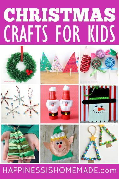 """Collage of 9 Christmas kids crafts and """"Christmas Crafts for Kids"""" text on magenta background"""