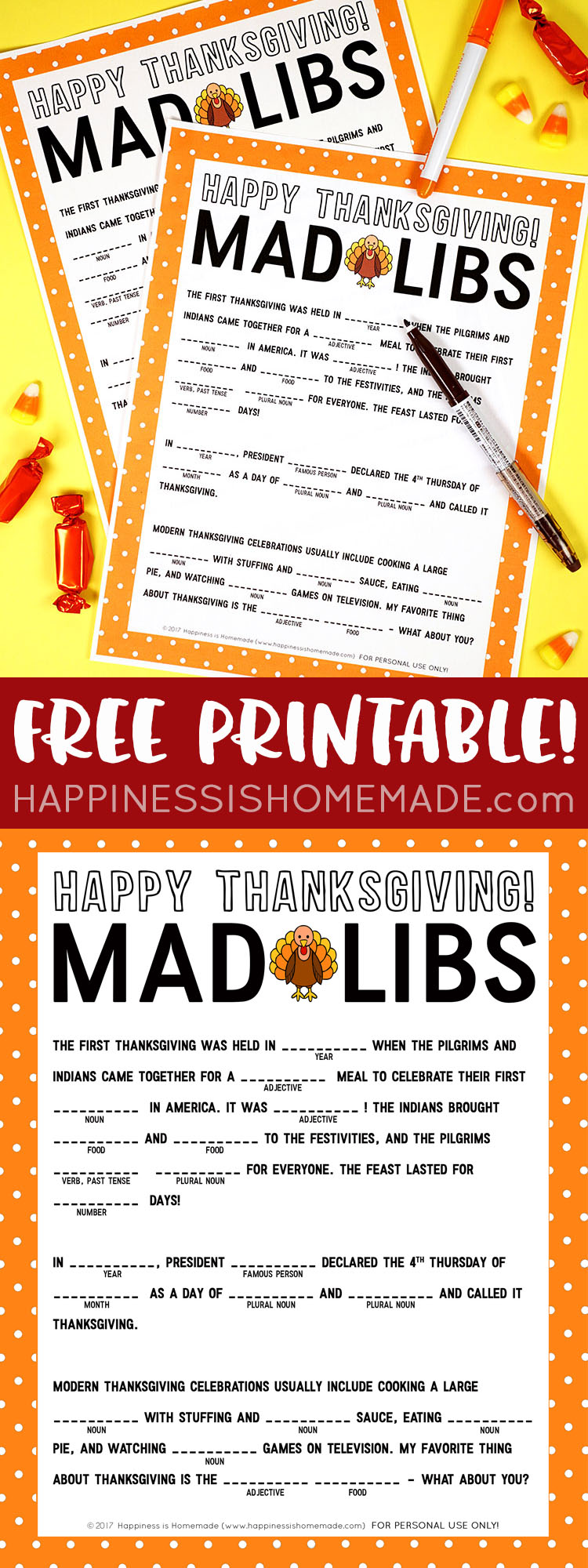 image relating to Free Mad Libs Printable named Thanksgiving Insane Libs Printable Recreation - Joy is Handmade
