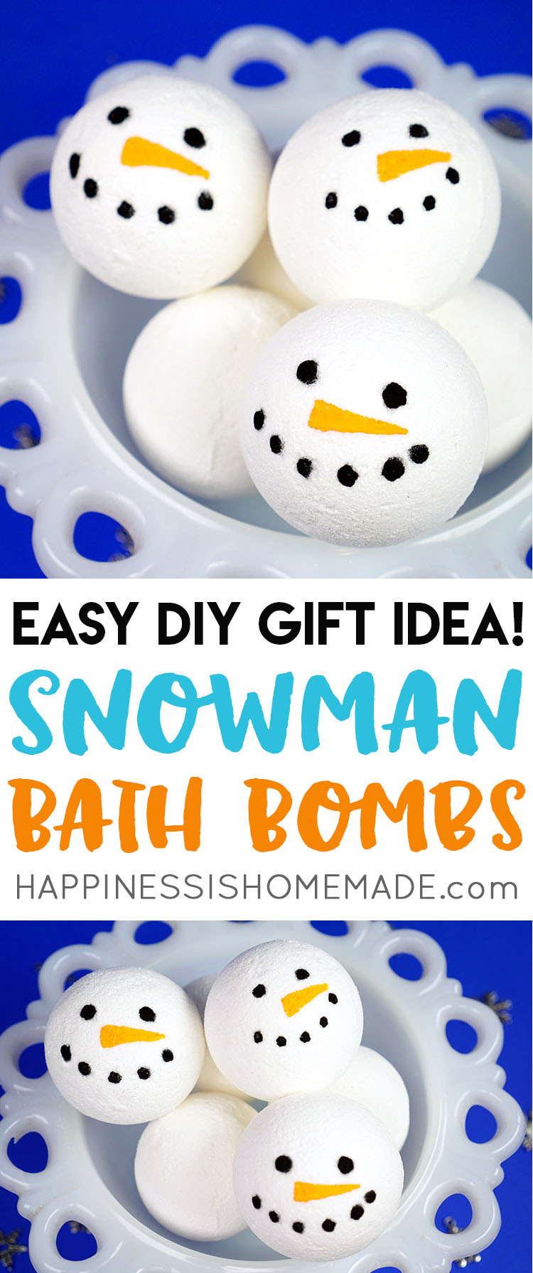 Want to learn how to make bath bombs? This simple DIY snowman bath bomb recipe is perfect for beginners and a great idea for holiday gift giving!