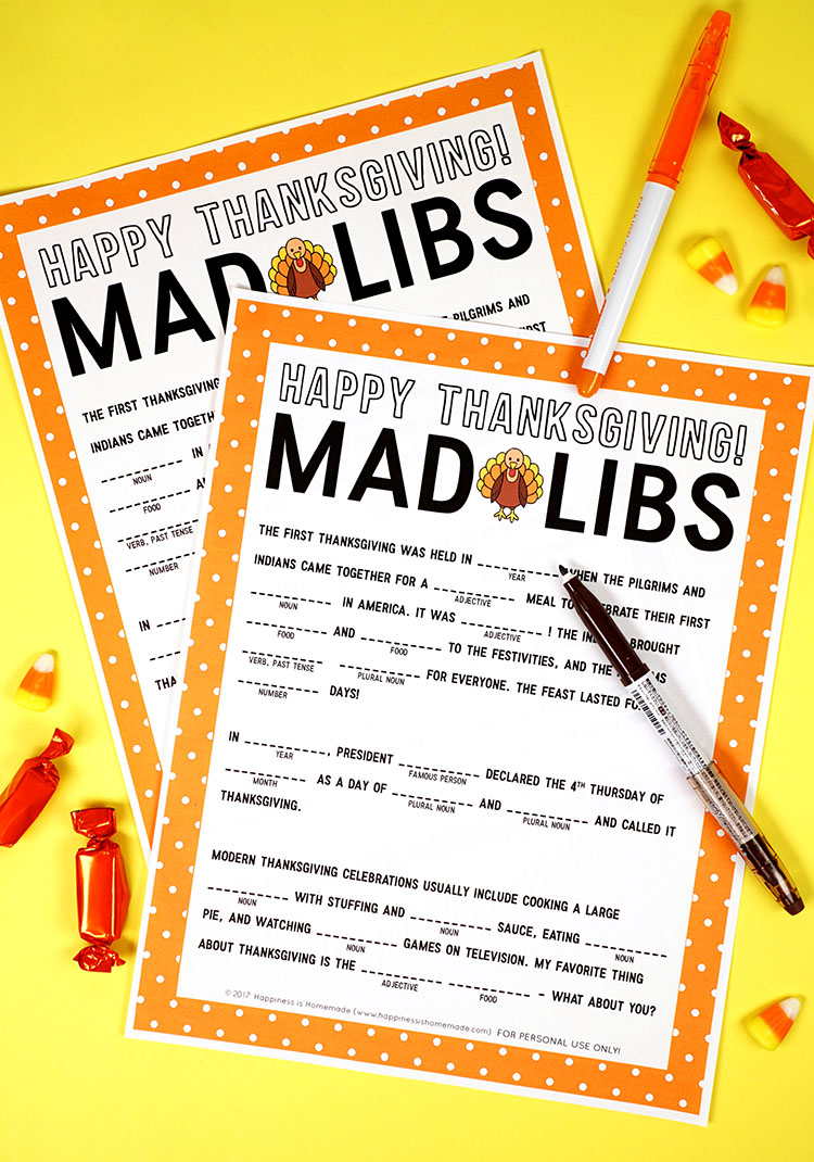 image relating to Printable Mad Libs Sheets for Adults identified as Thanksgiving Crazy Libs Printable Sport - Contentment is Selfmade