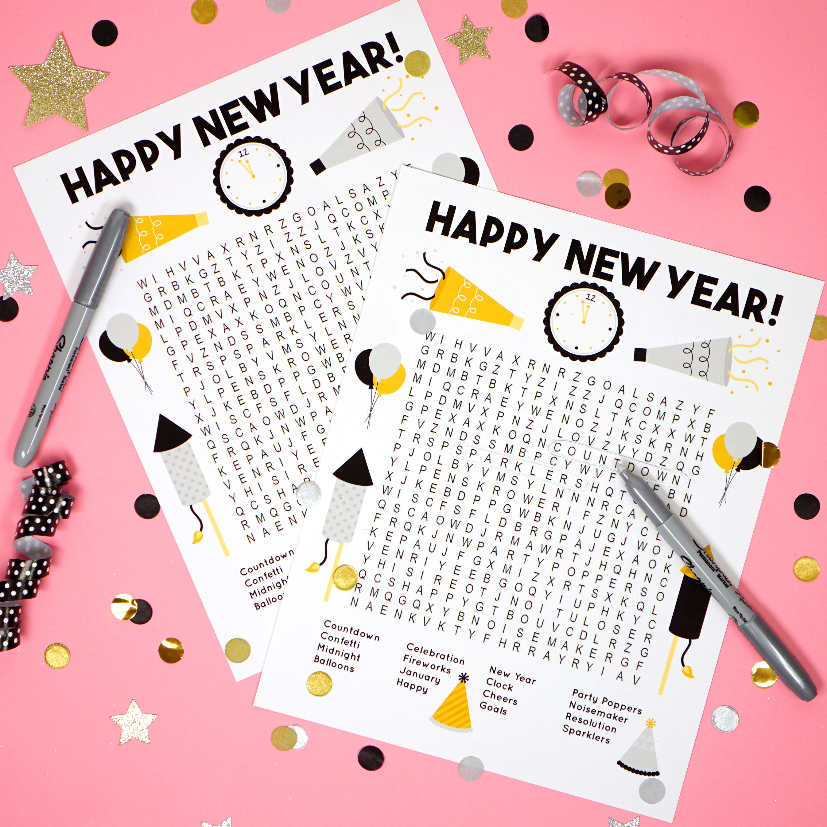 printable new years eve word search