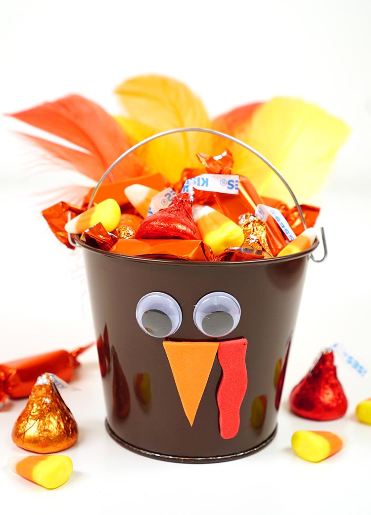 Thanksgiving Kids Craft: Turkey Treat Buckets - Happiness ...