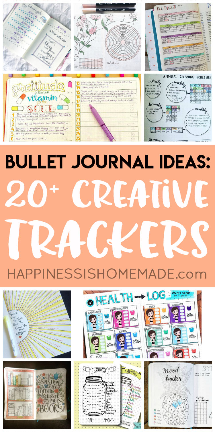 20+ bullet journal ideas: creative tracker charts - happiness is