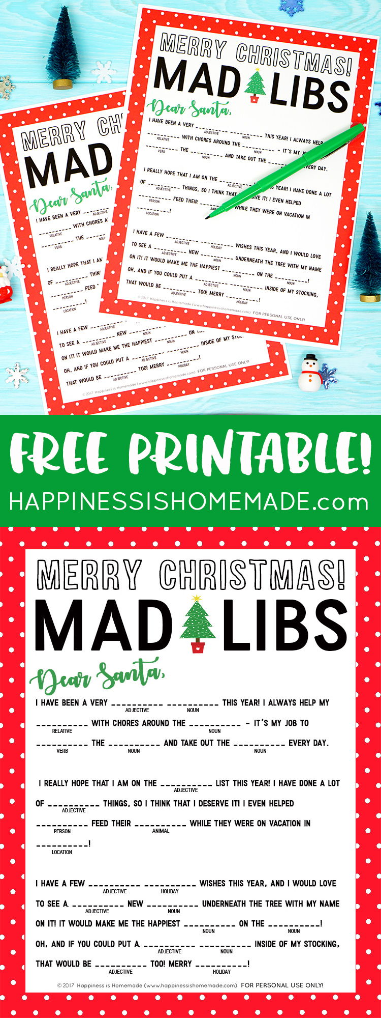 This fun Christmas Mad Libs printable is perfect for kids of all ages (and grown-ups, too!)! Great for parents, teachers, classroom moms, Scout leaders, and more!