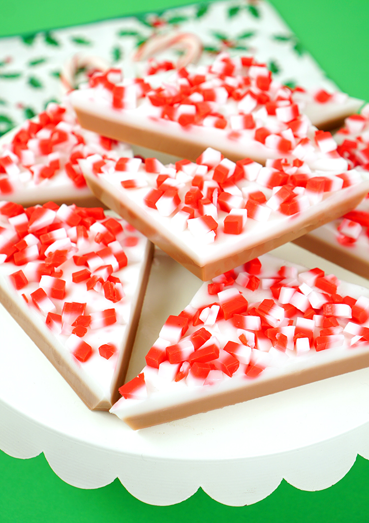This DIY Peppermint Bark Soap is an easy, fun, and festive homemade Christmas gift idea!