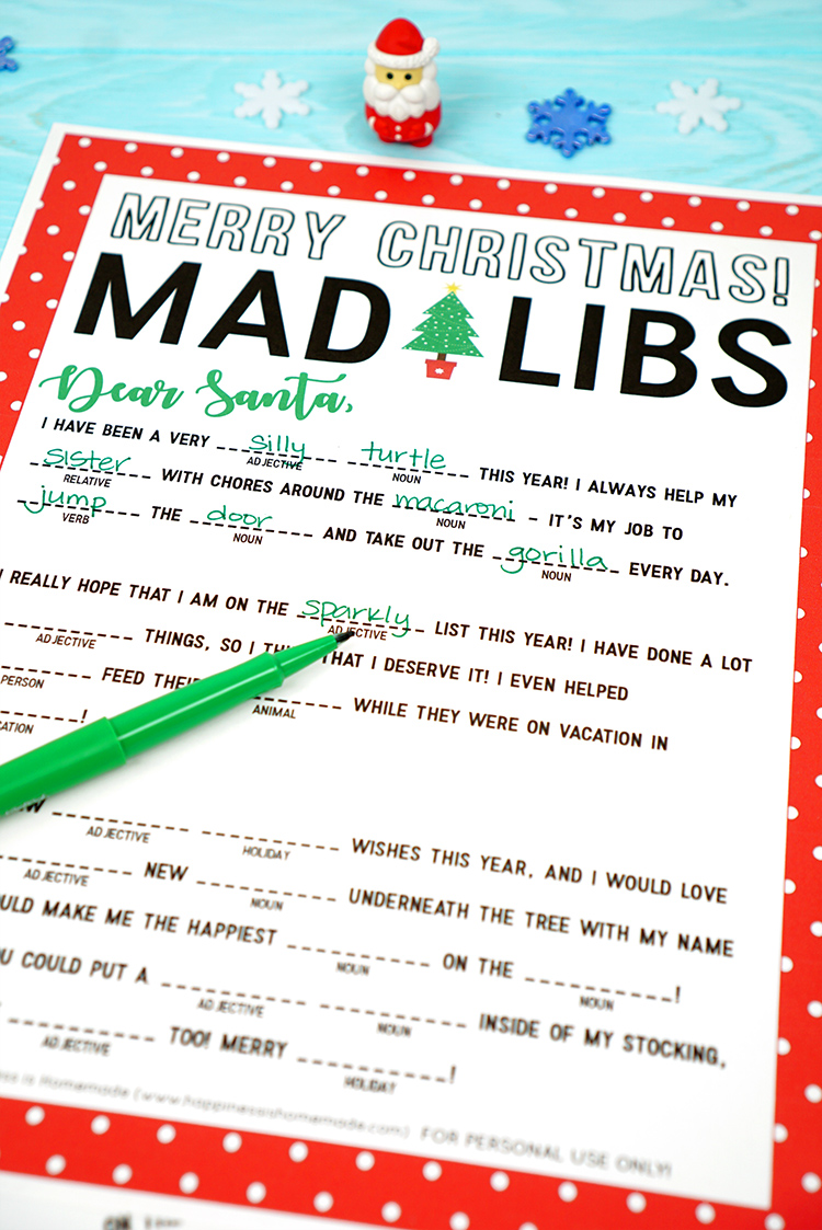 Christmas Mad Libs Printable Happiness Is Homemade