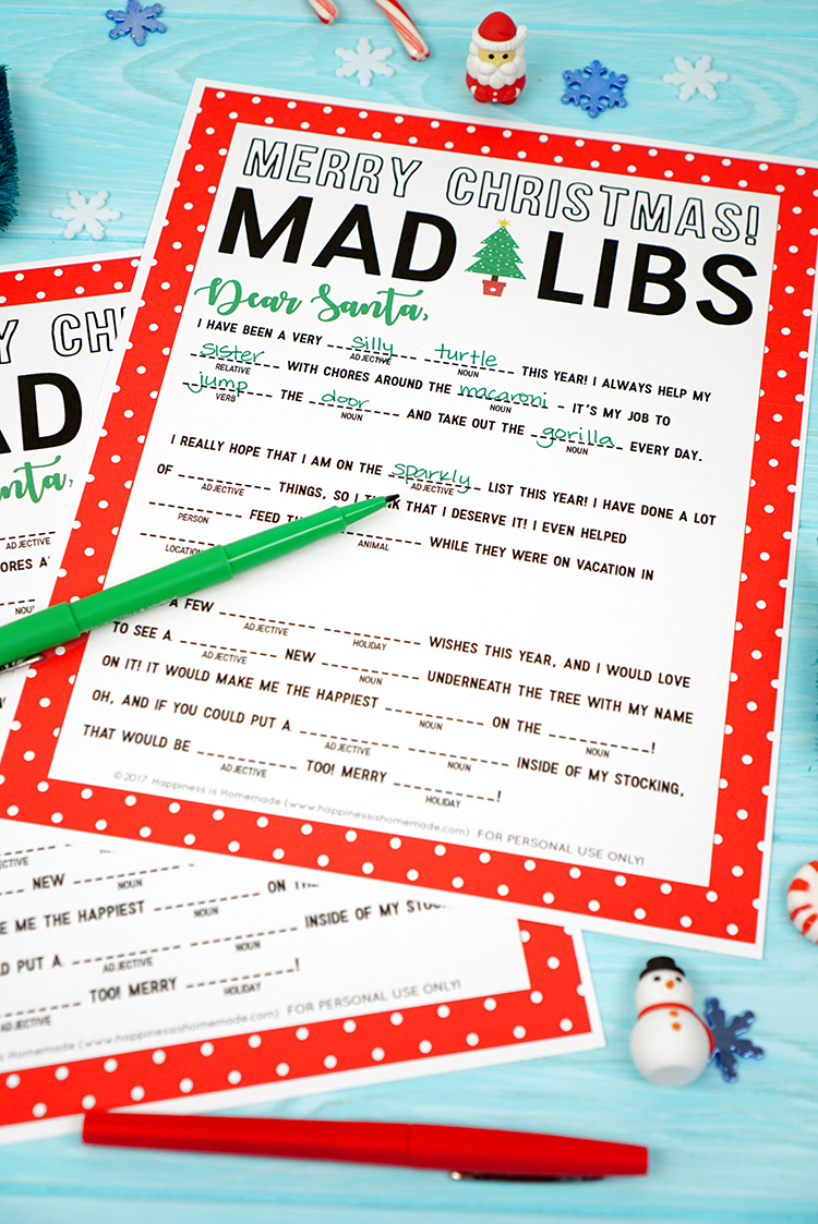 Christmas mad libs printable happiness is homemade mad libs is always a fun and silly game thats perfect for passing the time and this christmas version is sure to be a big hit with your friends family spiritdancerdesigns Gallery