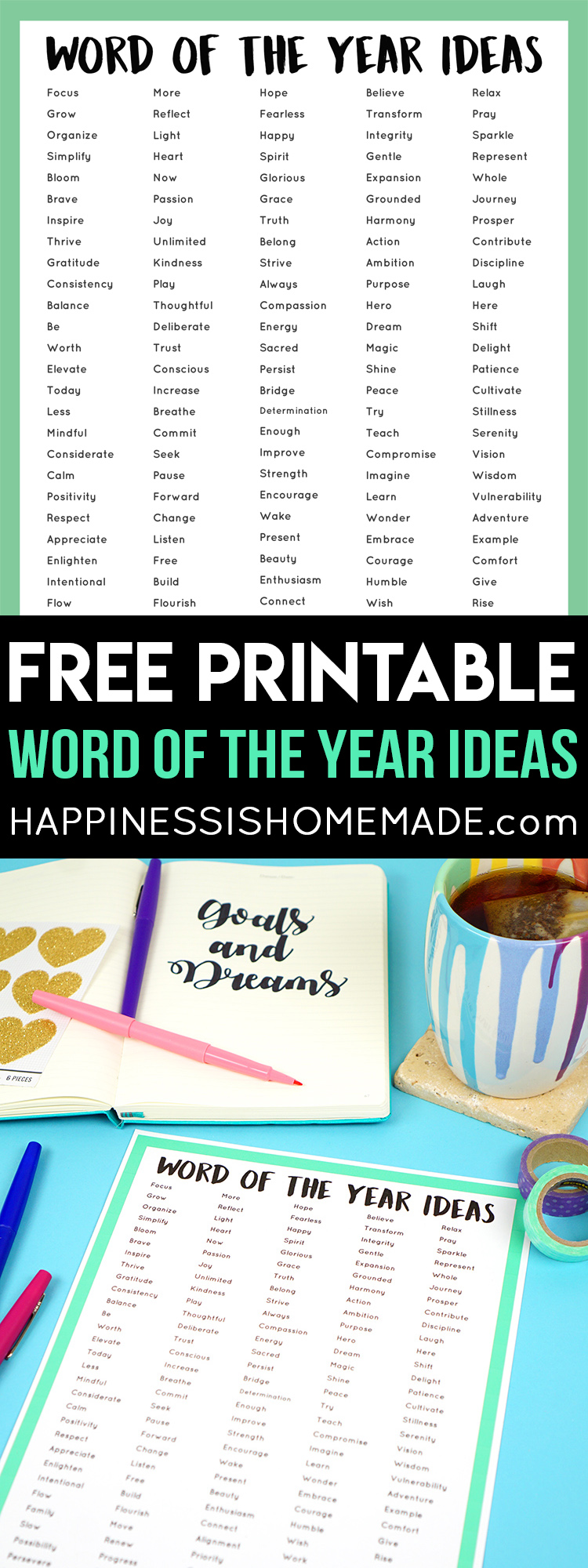 """Do you choose a """"Word of the Year"""" or participate in the One Little Word project? Check out this printable list of the best Word of the Year ideas! via @hihomemadeblog"""