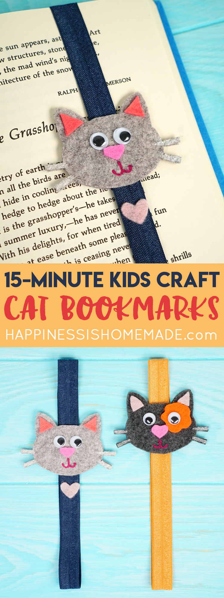 Easy Craft For Kids Cat Bookmarks Happiness Is Homemade