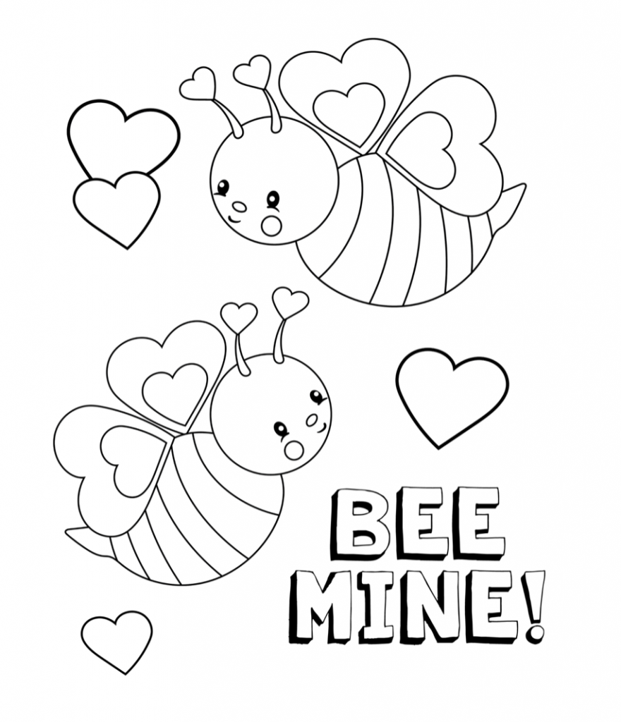 Bee mine valentines coloring page ·