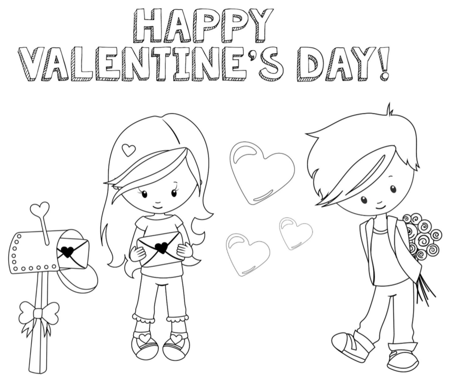 happy valentines day coloring page - Valentine Coloring Sheets