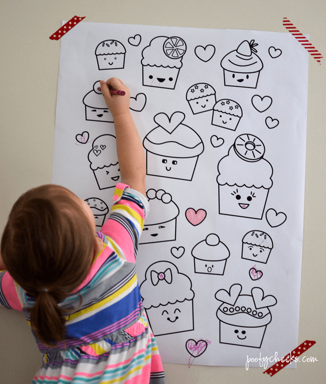 Kawaii Cupcake Valentine S Day Coloring Poster