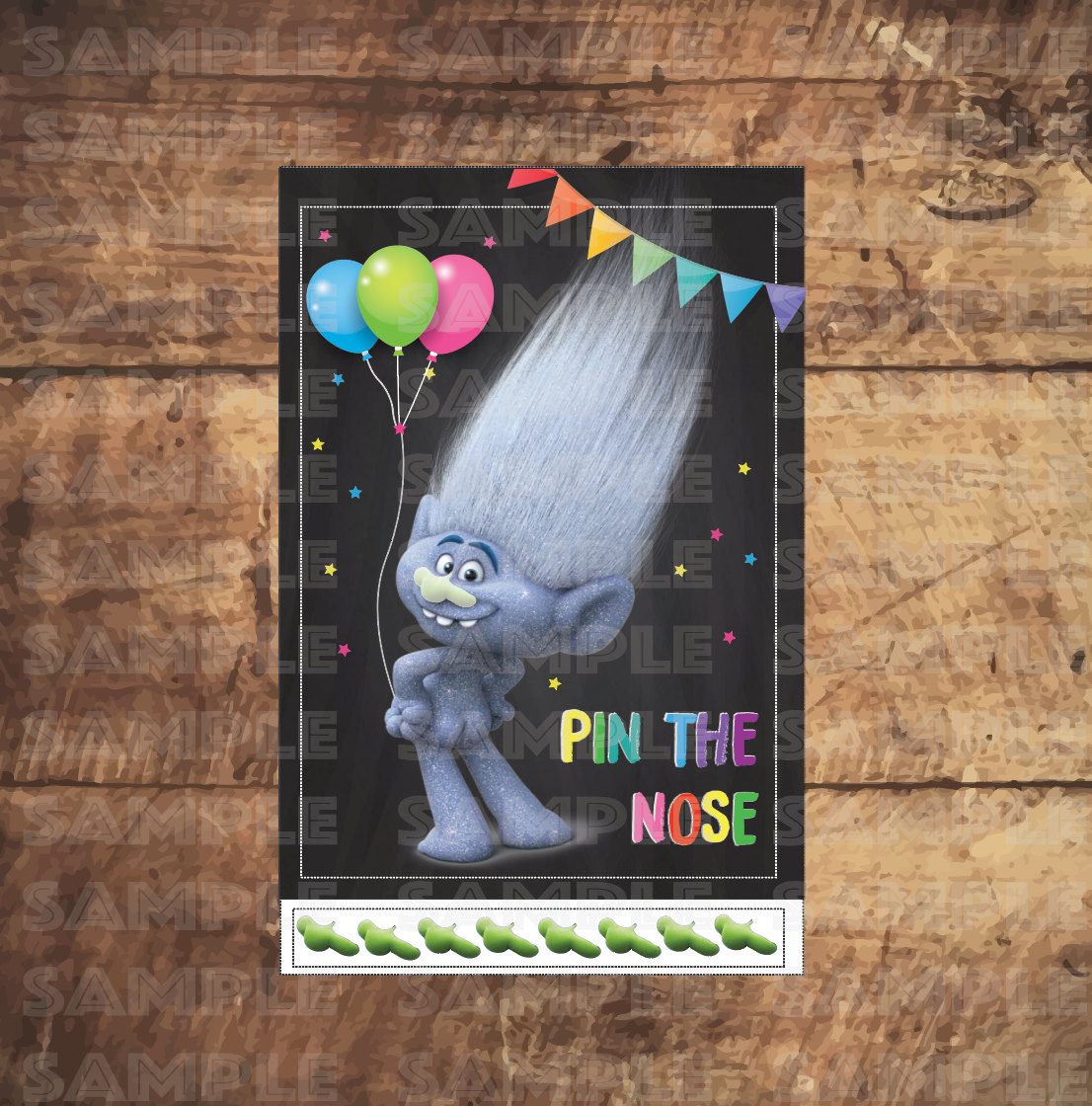 f6222697e831 Play Pin the Nose on the Troll with this fun printable Trolls party game by  Trustiti! If the bare booty isn t your style