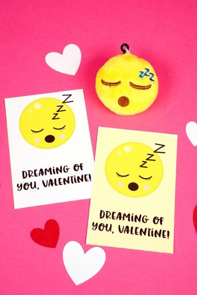 Sleepy Emoji Valentine Card Printable