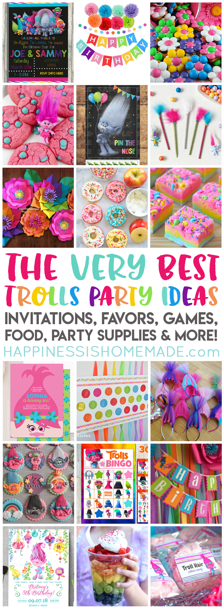 Planning a Trolls Birthday Party? We've got you covered with the best Trolls Party Ideas - Trolls party supplies, party favors, invitations, decorations, games, and more! We make your party planning easy peasy!