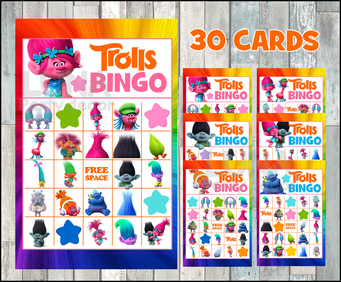 This Trolls Bingo Game By Luna Party Decor Has THIRTY Different Cards So Theres More Than Enough For Your Whole Crowd To Play Along