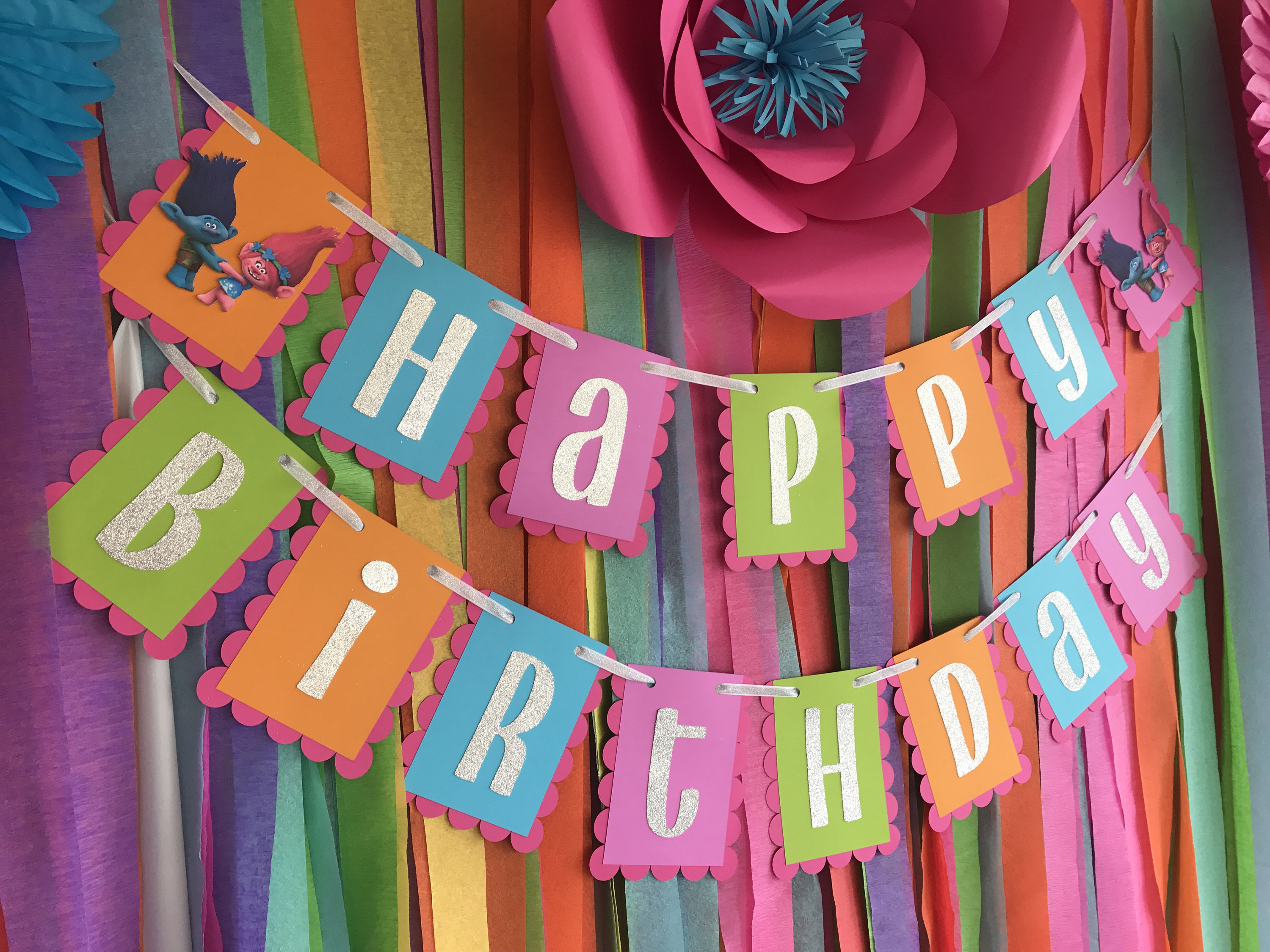 I Love How MAKSCraftshop Layered This Cute Happy Birthday Banner Over A Wall Of Colorful Crepe Paper Streamers For An Eye Catching And Inexpensive Party
