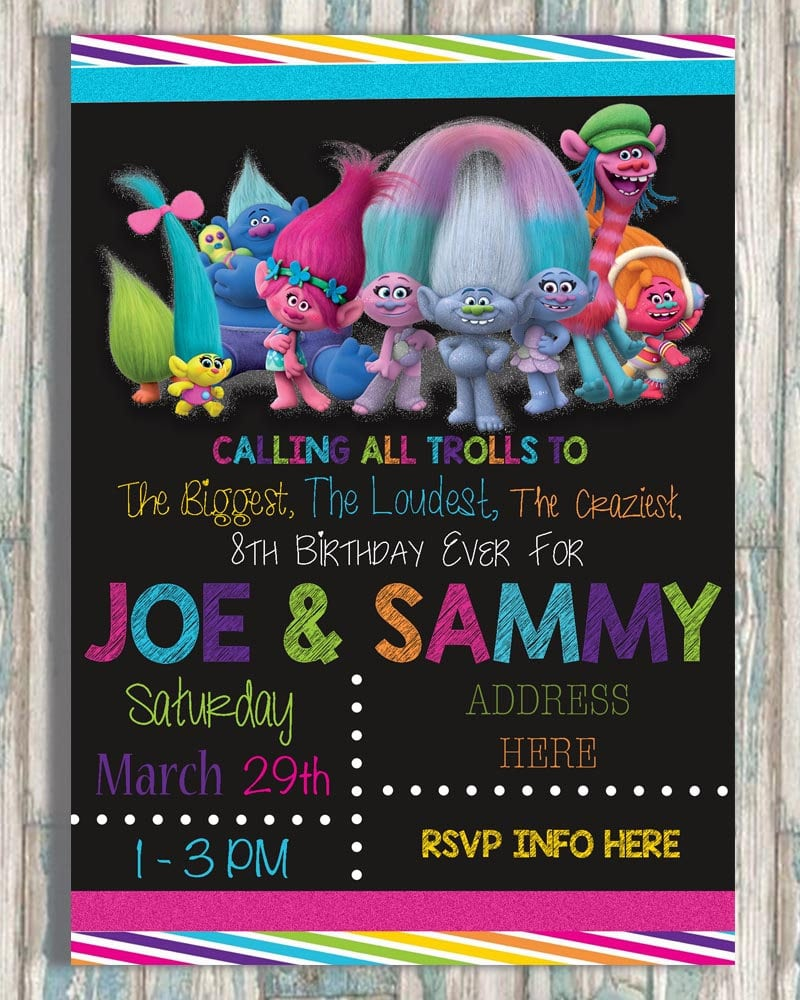 These Colorful Trolls Birthday Party Invitations From Bug Bean Graphics Are Absolutely Adorable And Feature All Of Your Favorite Characters