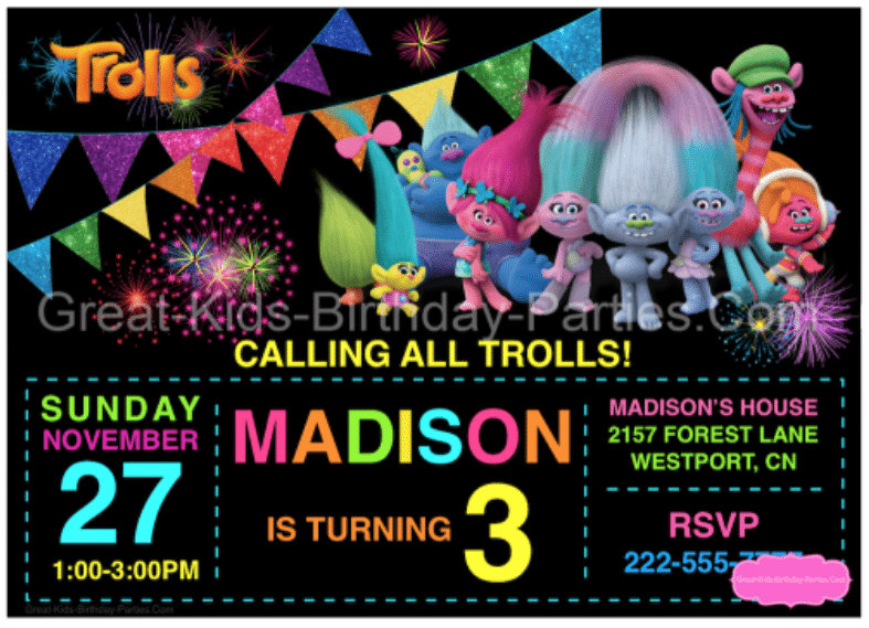 The best trolls birthday party ideas happiness is homemade great kids birthday parties has these fun and free editable trolls party invitations available for download along with lots of other trolls birthday party filmwisefo