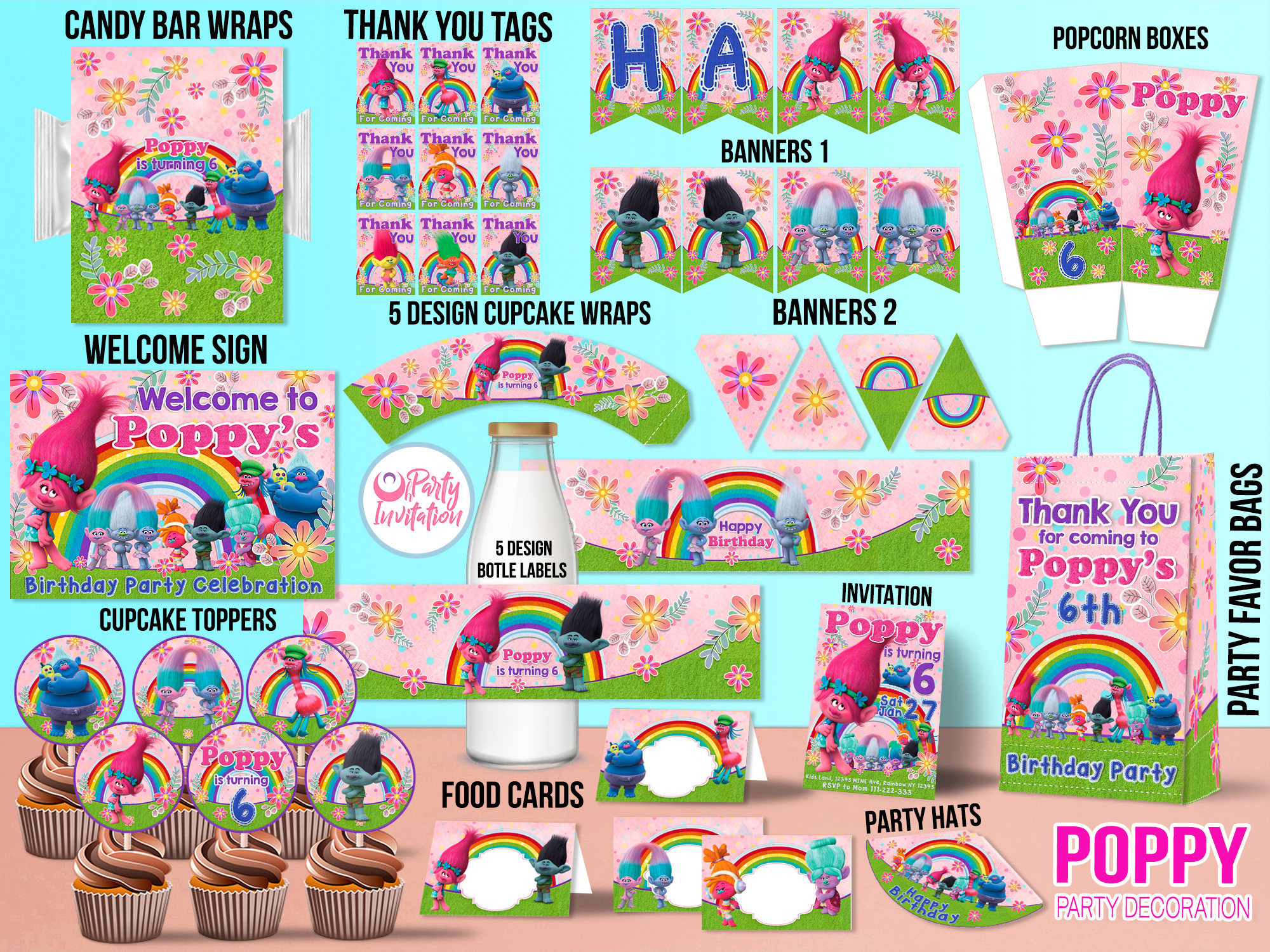 You Can Coordinate Your Entire Party Theme With This Easy To Use Trolls Printable Kit From Oh Invitation Has Everything Need