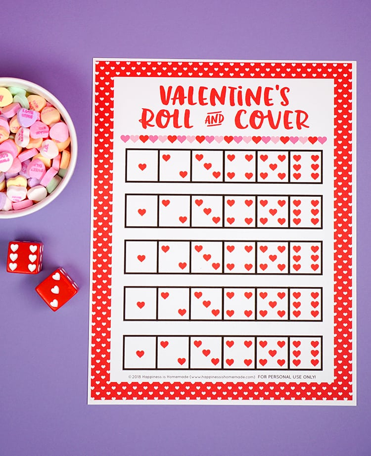 Valentine Games   Roll And Cover   Happiness Is Homemade   Games For Valentines  Day