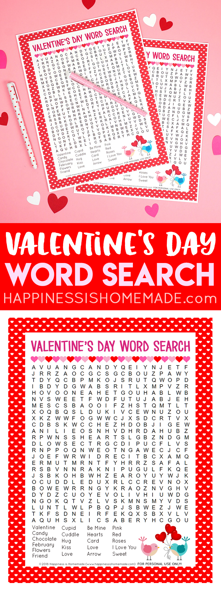 photograph relating to Valentine's Day Crossword Puzzle Printable called Valentines Working day Phrase Seem Printable - Contentment is Handmade