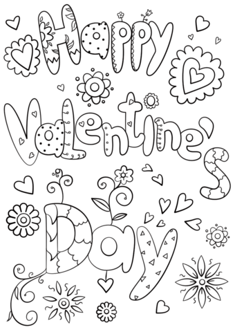 Doodle Heart Coloring Page Valentines Pages  Happiness is Homemade