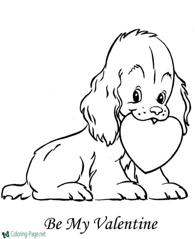 puppy valentine coloring page - Valentines Day Coloring Pages