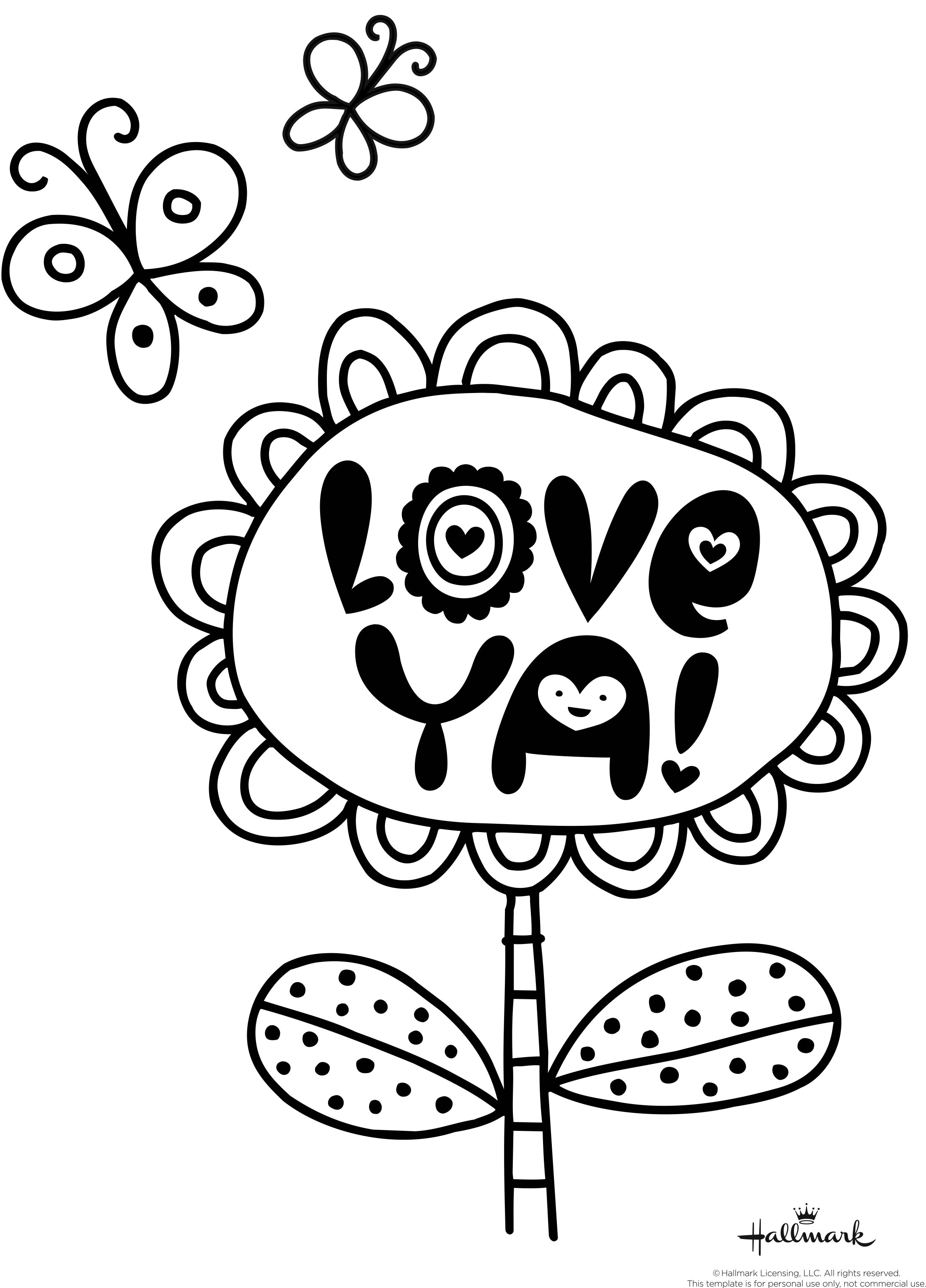 Field of hearts coloring page